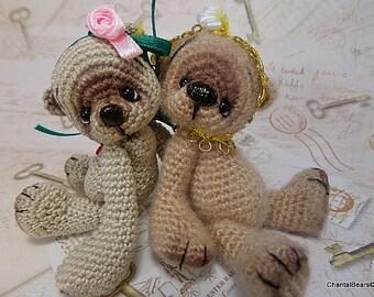 Miniature Thread Crochet Bear, 4 inches, digital PATTERN.