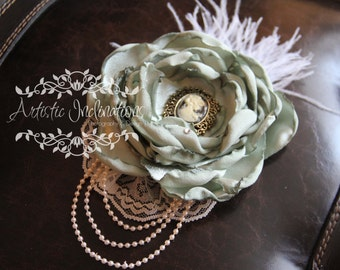 Days Gone By - Vintage Inspired Couture Headband, Green with Cameo Feathers Pearls and Lace
