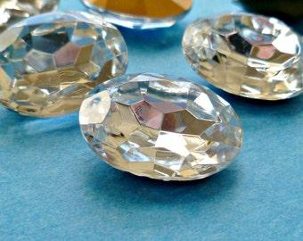 Two 18x13mm Crystal Clear Oval Glass Rhinestone Jewels (15-14-2)