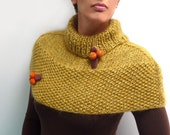 Yellow-Green Hand Knitted Capelet / Mustard Poncho with orange and brown buds - XILIA - ixela