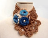 Crochet camel beige scarflette - Caramel neckwarmer with flowers - teal blue, turquoise and white - WILD FLOWERS