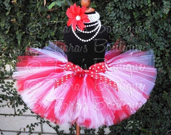 "Christmas Tutu - Red White Tutu - Custom SEWN 10"" Tutu - size Newborn to 5T - Perfect for Valentine's Day, Birthday Parties, and Portraits"