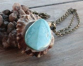 Natural Kingman Turquoise and Deer Antler Burr Pendant on 20 Inch Antiqued Brass Chain