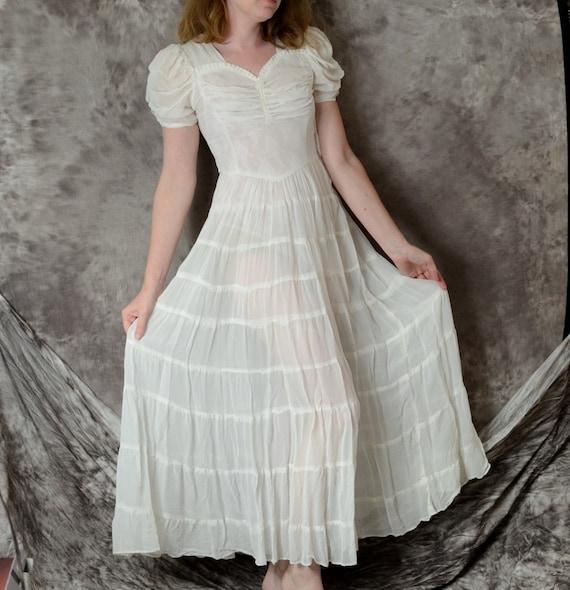 1940s Dress Sheer Nylon Ivory White Wedding 40s Long Dress