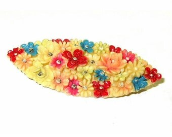 Antique Celluloid Brooch Floral Flowers Motif Embedded C Clasp Signed Japan