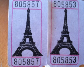 Vintage Style Hand Stamped The Eiffel Tower Carnival Travel Vacation Scrapbook Tickets