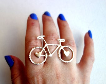 Sterling Silver Bike Knuckle Ring with Hearts