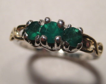 Triple  Emeralds  on  Sterling Silver with Gold wire.... LOVELY Ring .... size 7 ...    e454
