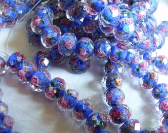 Blue Wedding Cake Lampwork 8x6mm Fire Polished Rondelle Beads 20