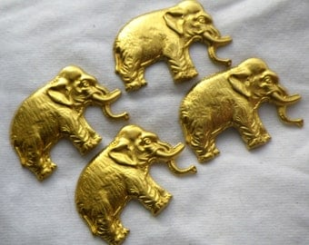 Brass Elephant Stampings 35x24mm 4