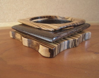 Wood Bangles - Stripe - Geometric - Wenge  - Zebrawood - Zebra - African - Stacking - Stackers - Stack - Small Hand Wrist - Spring Fashion