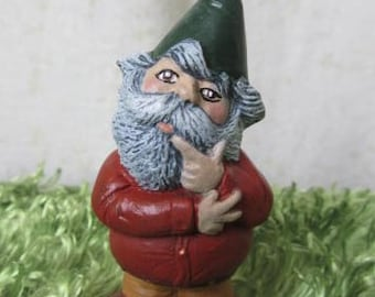 Gnome Figurine - Miniature Gnome - Thinking Gnome - Fairy Garden Gnome - Gnome Decor - Garden Gnome - Tiny Gnome - Gift Under 10 dollars
