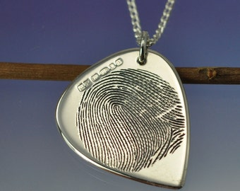Personalised Fingerprint Guitar Plectrum, pick NECKLACE / PENDANT Your print hand engraved on Sterling Silver