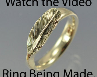 Feather Ring. Watch the VIDEO. Handmade from scratch in sterling silver.