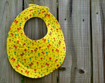 children's colorful organic bib, yellow birdies organic bib, organic cotton bib, baby bib, babies bib