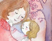 Moter Daughter Love Original Watercolor