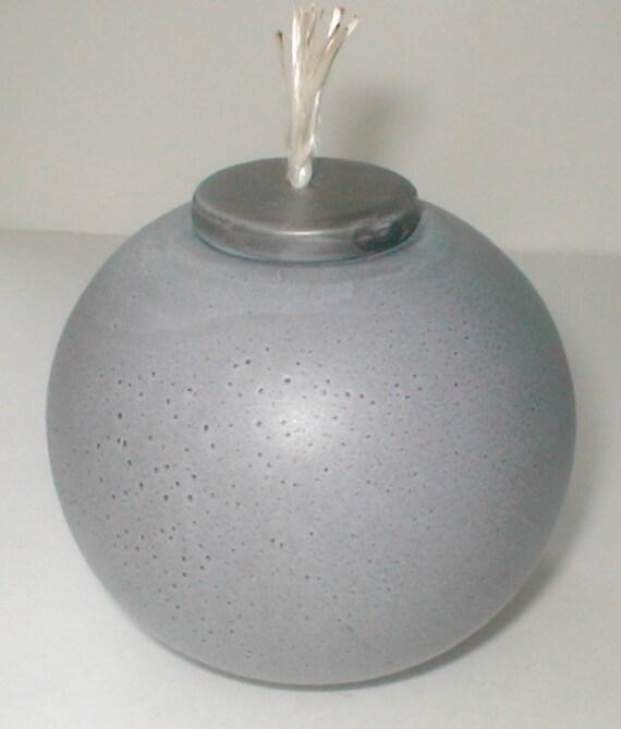 Lavender Ceramic Oil Lamp Vintage Globe Light Hand Made