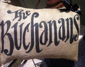Quincy Burlap Pillow - Custom Name with Bow