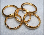 Gold Hammered Key Rings 5pk / 1 Inch / Ships from the US