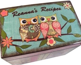 Recipe Box , Large Decoupaged Handcrafted Box, Owl Box, Kitchen Storage, Organization, MADE TO ORDER