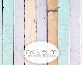 "Vinyl Photography Backdrop 5ft x 5ft, Photo Backdrop Spring, Vintage Old Color Wood background, ""Dipped in Pastel"""