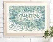 Vintage Map Wall Art, Peace on Earth, Lithograph