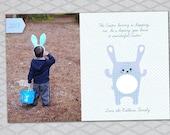blue bunny 4x6 Custom Digital Photo Printable Easter Card