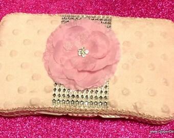 RHINESTONE Pink MINKY Dot Flower Travel Wipe Case baby shower gift