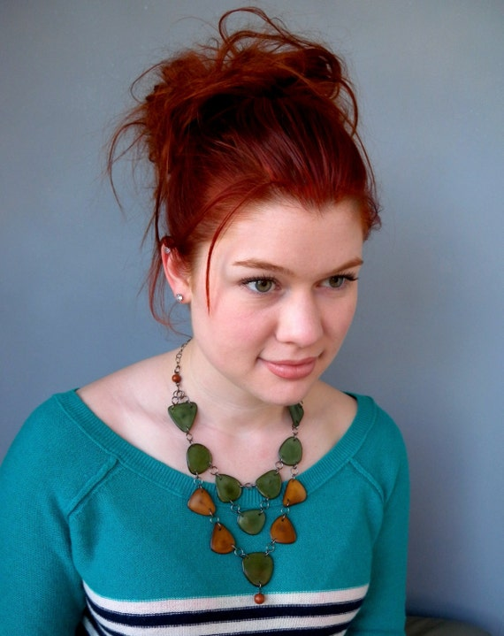 Suede Brown and Moss Green Tagua Necklace Bib with Free Shipping