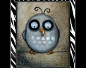 Cute Whimsical Owl Folk Art Print