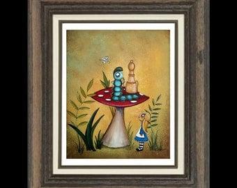 Alice In Wonderland Art Print  - Whimsical Art  Print Giclee - - Alice and the Caterpillar -- Fairytale Art Print