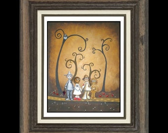 Whimsical Fairytale Art  Print  - Wizard of Oz - Off To See the Wizard -   Whimsical Art  -- Kids Wall Art Giclee