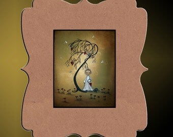 Whimsical Creeper Art Print -- Art  Print Giclee -  Summer Breeze -- Whimsical Tree - Hedgehog - Owl
