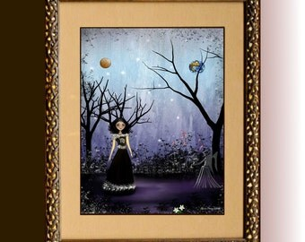 Zodiac Art Astrology Art Goth Girl Art - Digital Painting - Art Print ---  VIRGO