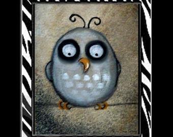 Cute Whimsical Owl Folk Art Print