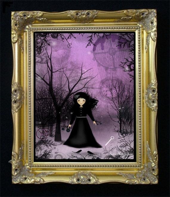 Steampunk Goth Girl Original Digital Painting -- Art Print --- Twilight Time -- Balloons - Clocks