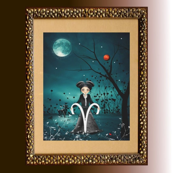 Zodiac Art Goth Girl Art Print ---  ARIES -  Astrology Art