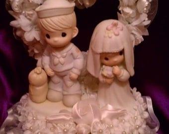 Rare NAVY Wedding CakeTopper with Precious Moments figurines