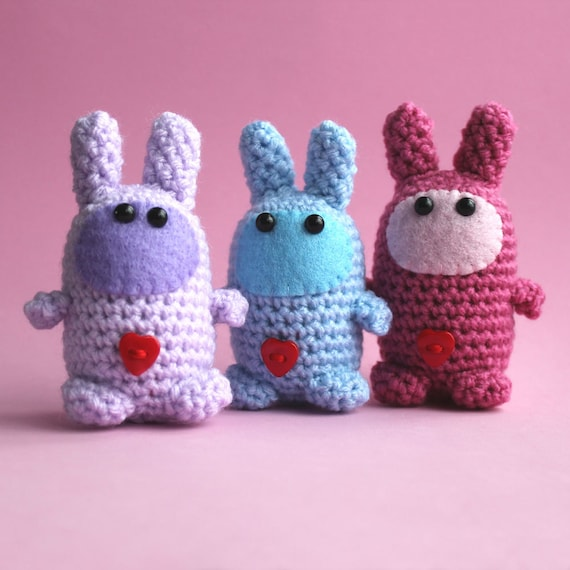 Amigurumi Blue Love Bunny Miniature Collectable