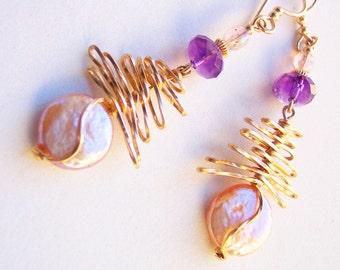 Blush Pink, Blush Pearl Earrings, Peach Pearl, Amethyst Earrings, June Birthstone, Birthday Gift, for her, Purple, February Birthstone