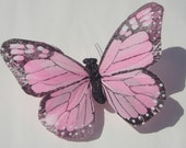 Butterfly Hair Clip large soft pink feather butterfly hand made hair clip