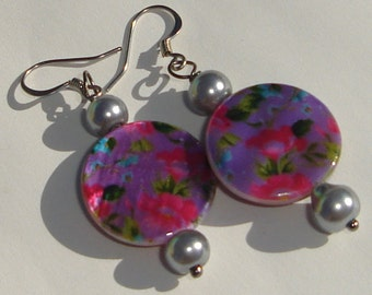 pink purple floral print beads with gray glass pearls pierced dangle hand made wire wrapped earrings