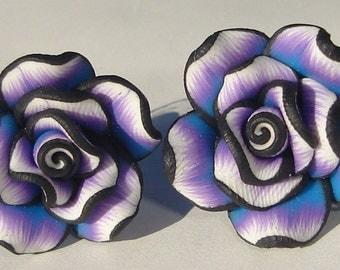 Flower Earrings Pierced Earrings purple, black, blue, and white polymer clay flower pierced post earrings