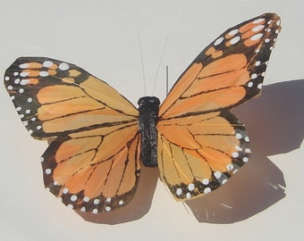 Butterfly Hair clip large orange feather Monarch butterfly hand made hair clip