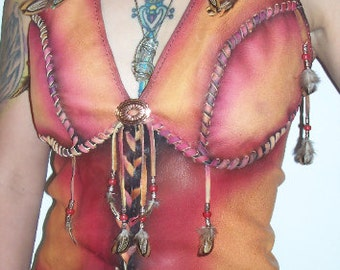 Artisan Made Leather Bustier Western Style Halter Top Hippie Fringe Feathers Beads Corset SUNBURST colorationHandmade by Debbie Leather