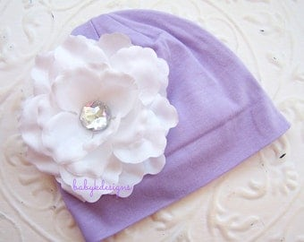 Lavender Beanie / Baby Girls Hat / Perfect White Flower Cotton Beanie/ Hat / Girls / Kids Warm Hat