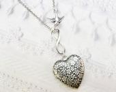 Silver Locket Necklace - ETERNAL LOVE Locket - Valentine's Day Heart Locket - by BirdzNbeez - Valentine's Day Wedding Birthday Daughter Gift