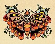 Old School Tattoo Art Death MOTH Skull Print 5 x 7, 8 x 10 or 11 x 14