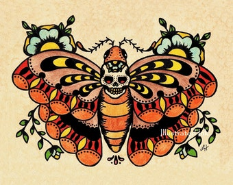 Old School Tattoo Art Death MOTH Skull Print 5 x 7, 8 x 10 or 11 x 14