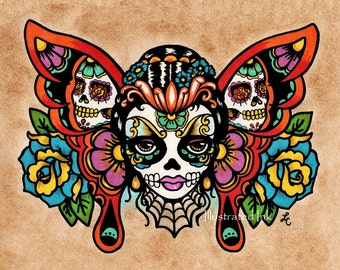 Day of the Dead Sugar Skull BUTTERFLY Old School Tattoo Art Print 5 x 7, 8 x 10 or 11 x 14